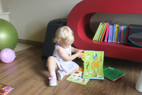 Baby and his or her first books